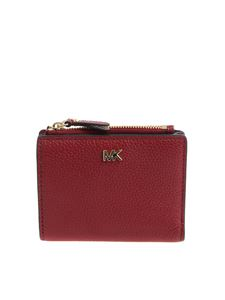 Michael Kors - Burgundy leather wallet with golden logo
