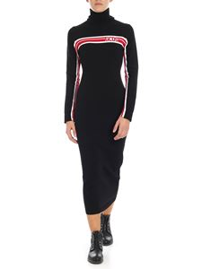 GCDS - Black longuette dress with red and white embroidery