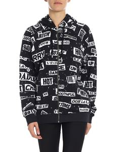 Moschino - Black sweatshirt with all-over white prints