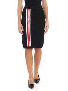 GCDS - Black knitted skirt with red and white embroidery