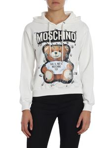 """Moschino - """"Safety Pin Teddy"""" white hoodie"""