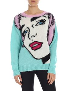 Moschino - Light blue pullover with inlay