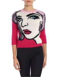 Moschino - Fuchsia crop pullover with inlay
