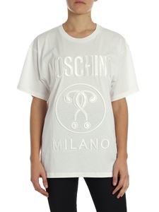 """Moschino - """"Double Question Mark"""" white t-shirt with logo"""