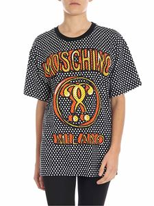 Moschino - Black and white polka dotted t-shirt with logo print