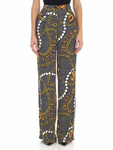 Moschino - Black palazzo pants with yellow prints