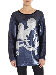 """Faith Connexion - Blue sequin sweatshirt with """"Mickey Mouse"""" print"""