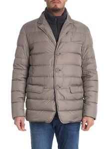 Herno - Taupe down jacket with grey wool detail