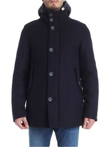 Herno - Blue wool coat with quilted details