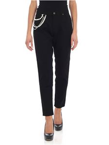Gaelle Paris - Black jeans with hanging rhinestones