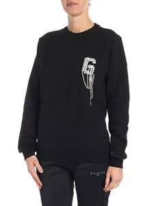 Gaelle Paris - Black sweatshirt with logo and beads