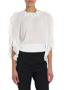 Elisabetta Franchi - White crop top with rouches