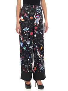 Shirtaporter - Black trousers with multicolor print