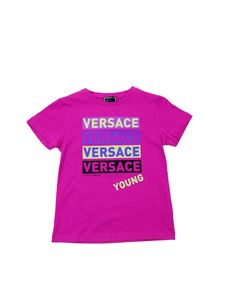 Versace Young - Fuchsia t-shirt with logo prints
