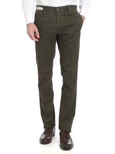 Incotex - Green textured cotton trousers