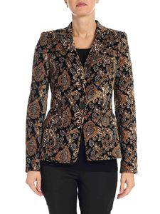 Michael Kors - Black cashmere printed one button jacket