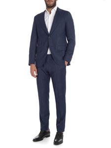 Caruso - Melange blue wool suit