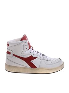 "Diadora Heritage - White and red ""Mi Basket Used"" sneakers"