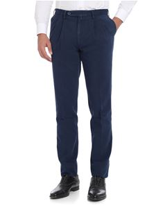 Rotasport - Melange blue trousers with pleated front panels