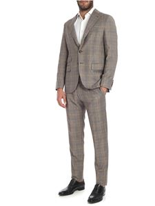 Caruso - Brown checked pattern wool suit