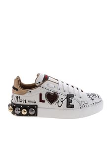"Dolce & Gabbana - ""Portofino"" white sneakers with prints and studs"