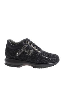 "Hogan - ""Interactive"" black glittery sneakers"
