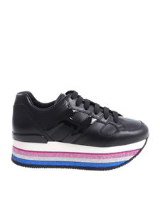 "Hogan - Black ""H407"" sneakers with glittered sole"