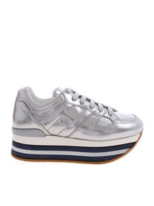 "Hogan - Silver ""H407"" sneakers with glittered sole"