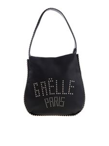 Gaelle Paris - Black bag with silver-plated metal studs