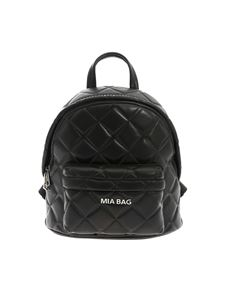 Mia Bag - Black leather backpack with silver studs