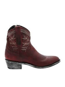 Mexicana - Burgundy ankle boots with stitching