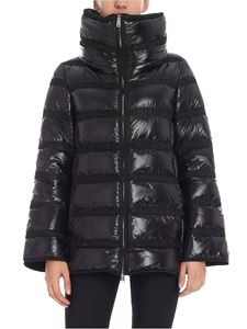 ADD - Black down jacket with fabric inserts