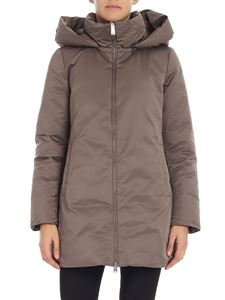 ADD - Dove-colored down jacket with detachable hood
