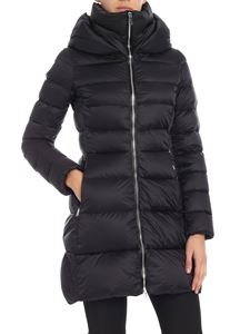 ADD - Black flared hooded down jacket