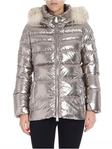 ADD - Down jacket with silver cowl collar