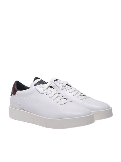 Santoni - White leather sneakers with logo