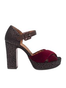 "Chie Mihara - ""Bag"" burgundy ankle strap sandals"