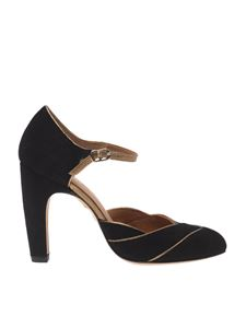 "Chie Mihara - ""Dishy"" black and golden sandals"