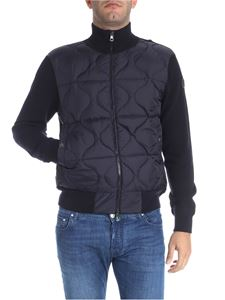 Moncler - Blue cardigan with down detail