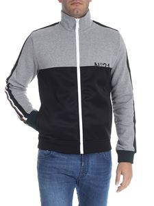 N° 21 - Gray and black sweatshirt with multicolor bands