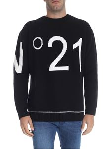 N° 21 - Black pullover with white logo inlay