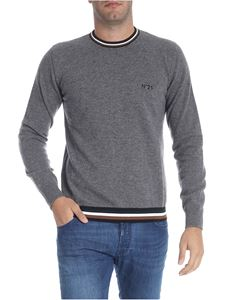 N° 21 - Gray pullover with multicolor knitted edges