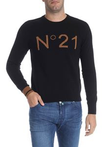N° 21 - Black pullover with brown logo insert