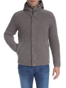 Herno - Dove grey padded wool cardigan