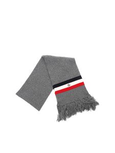 Moncler - Gray scarf with multicolor details
