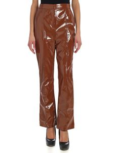 Elisabetta Franchi - Brown trousers with patnet effect