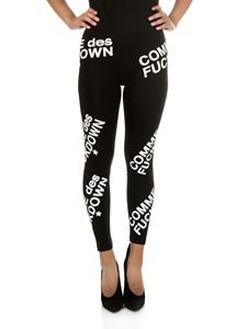 Comme des Fuckdown - Leggings nero con stampa all-over