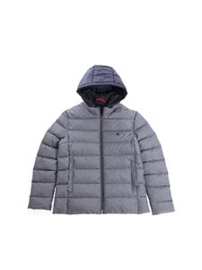 Fay Jr - Grey down jacket with blue hood