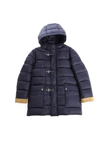 Fay Jr - Blue down jacket with leather details
