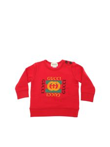 Gucci - Red crew-neck sweatshirt with logo